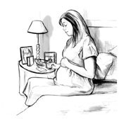 Drawing of a pregnant woman sitting on the edge of her bed, holding a cracker. A box of crackers, a lamp, and a framed photo are on a nearby bedside table.