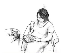 Drawing of a pregnant woman sitting in a chair, writing the result of her blood glucose test in a record book. She has a pen in her right hand and a blood glucose meter in her left hand. She is looking at her blood glucose meter. Her testing equipment is on a nearby table.
