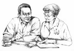 Drawing of a male patient talking with a female health care provider. On the table in front of them are a blood glucose meter, a booklet, and a coffee cup.